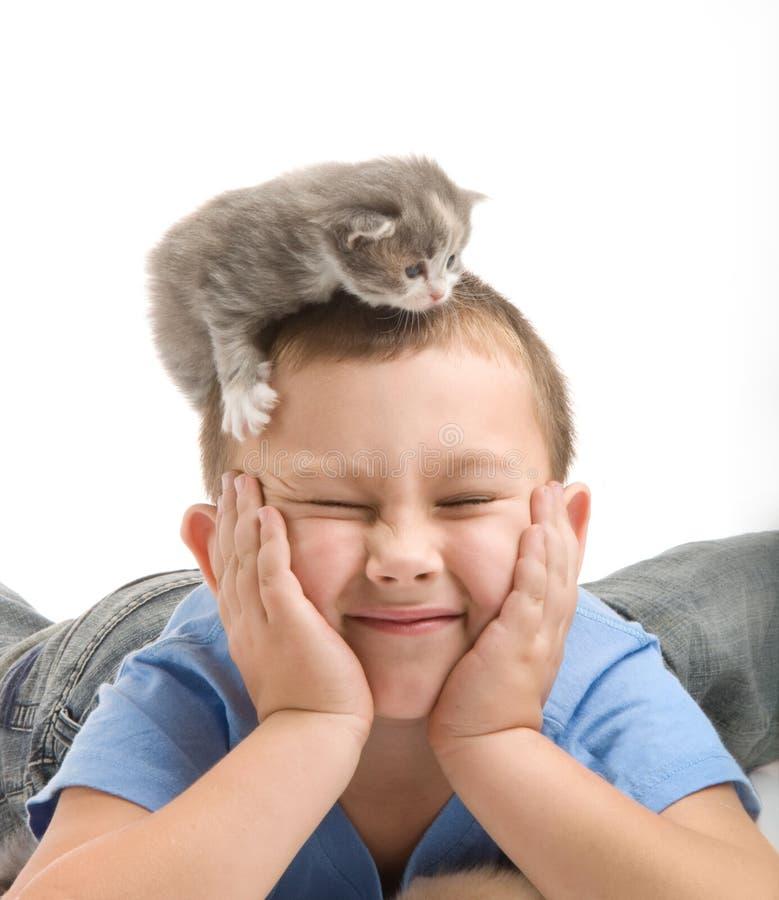 De kleine jongen met een pluizig katje royalty-vrije stock fotografie