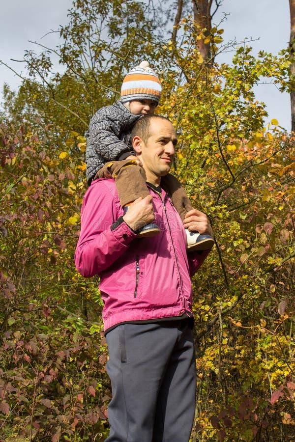 De kleine jongen zit op zijn vader` s schouders, draagt Autumn Dad een kleine jongens` s hals in het hout royalty-vrije stock foto
