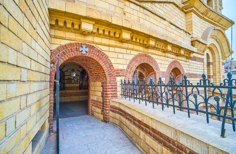 De kleine kapel in St George Church in Koptisch Kaïro, Egypte stock afbeelding