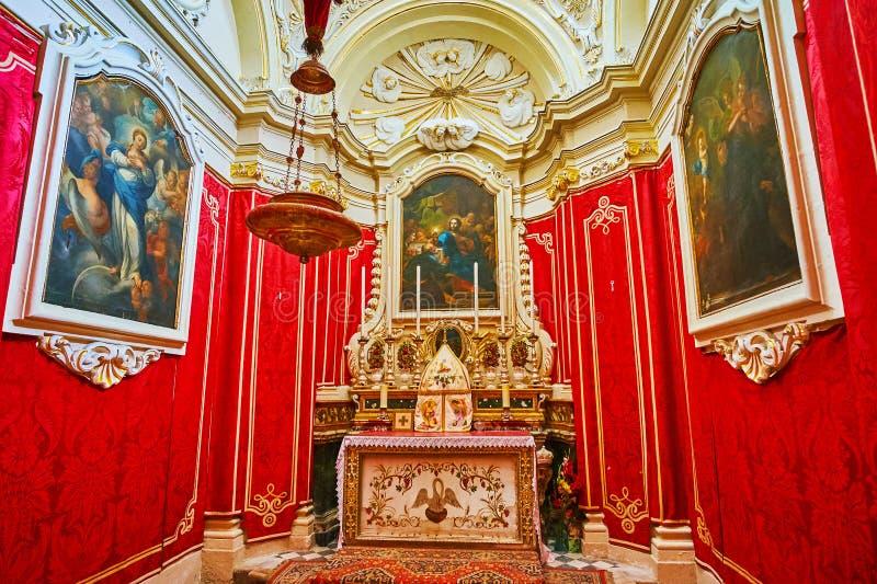 De kleine kapel in Wignacourt-museum, Rabat, Malta stock afbeelding