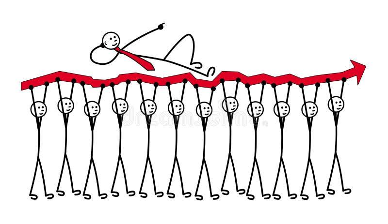 12 de kleine mensen dragen een rode pijl De Grafiek van de groei Men ligt op bovenkant en toont richting stock illustratie