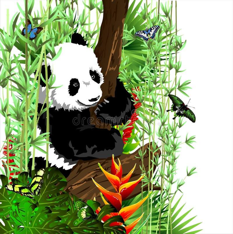 De kleine panda op de boom stock illustratie