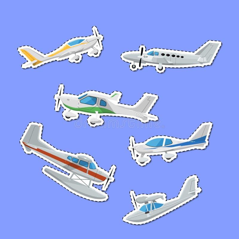 De kleine propellervliegtuigen isoleerden etiketten stock illustratie