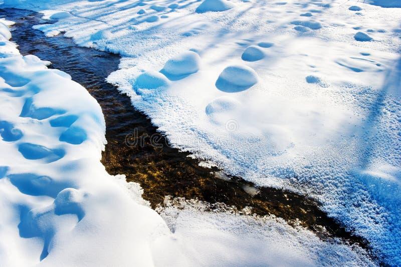 De kleine rivier in de sneeuw stock fotografie
