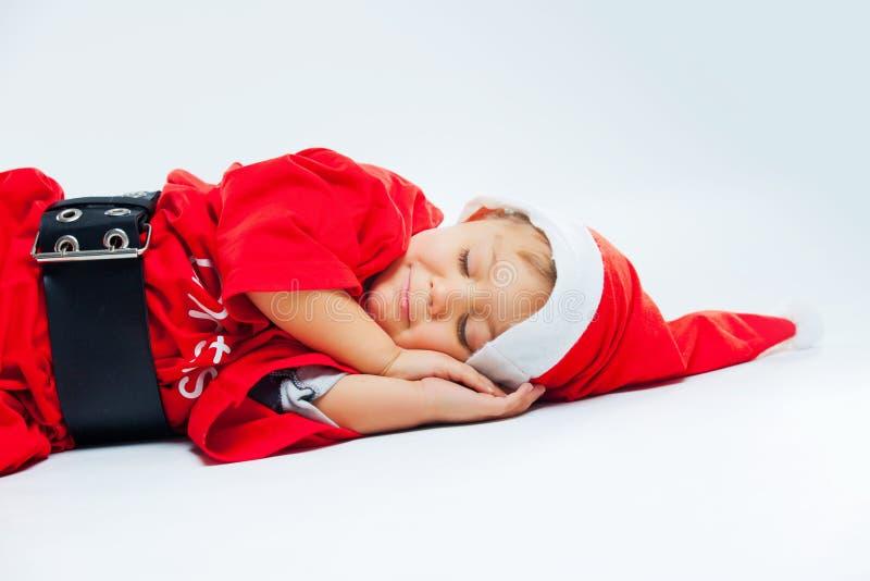 De kleine slaap van de Kerstman stock afbeeldingen