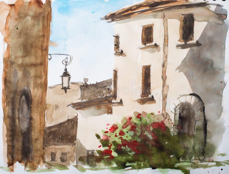 De kleine stad in Sardinige stock afbeelding