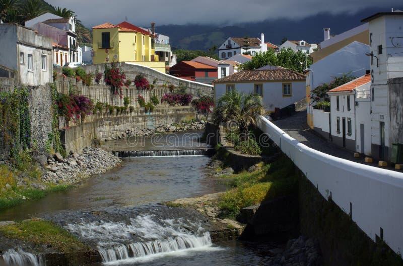 De kleine stad van Saomiguel, de Azoren, Portugal stock afbeeldingen
