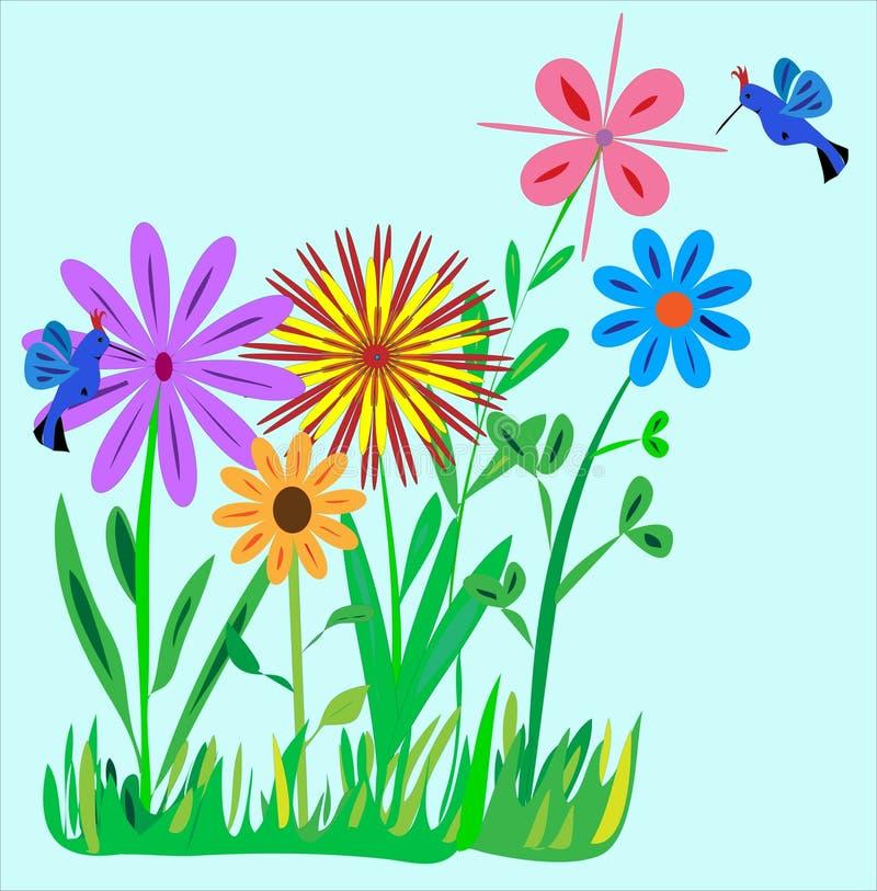 De kleine Tuin van de Bloem met de Illustratie van Kolibries royalty-vrije stock afbeelding