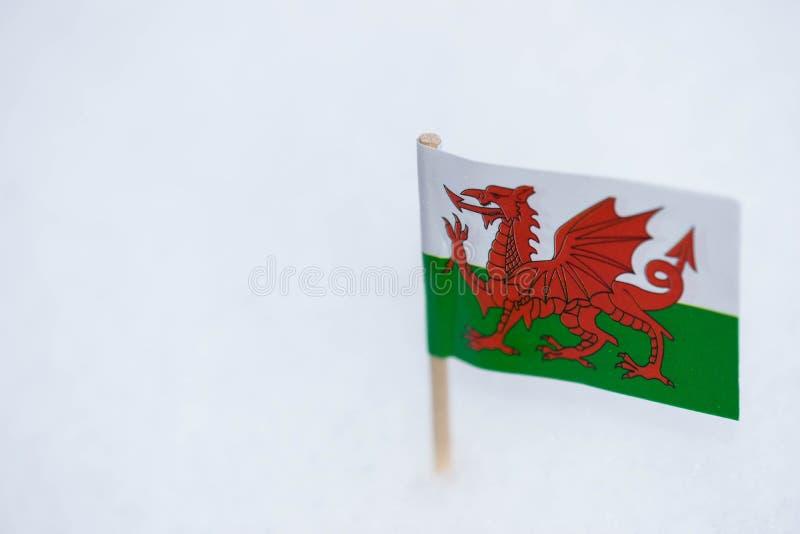 De kleine vlag van Wales maakte van document met bruine tandenstoker op witte sneeuwachtergrond royalty-vrije stock fotografie
