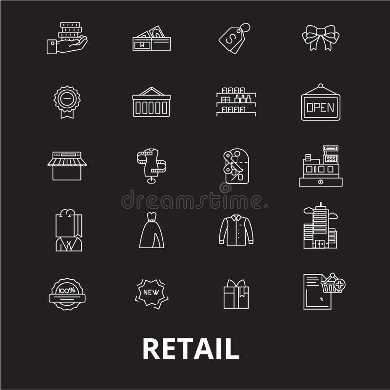 De kleinhandels editable die vector van lijnpictogrammen op zwarte achtergrond wordt geplaatst Kleinhandels witte overzichtsillus stock illustratie