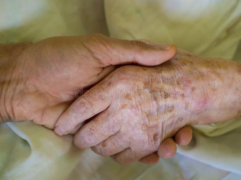 De kleinzoon die zijn grootmoeder houden dient het ziekenhuis in royalty-vrije stock afbeelding
