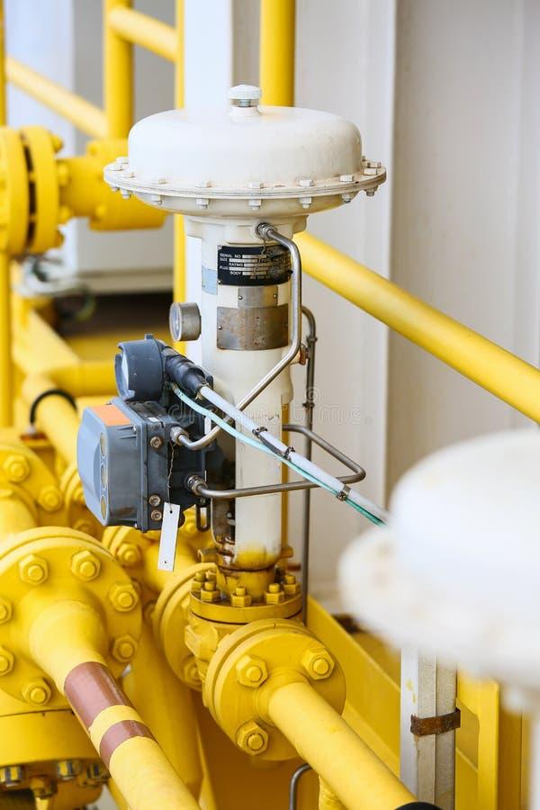 De klep van de drukcontrole in olie en gas verwerkt en gecontroleerd door de Controle van de Programmalogica, PLC controlemechani royalty-vrije stock foto's