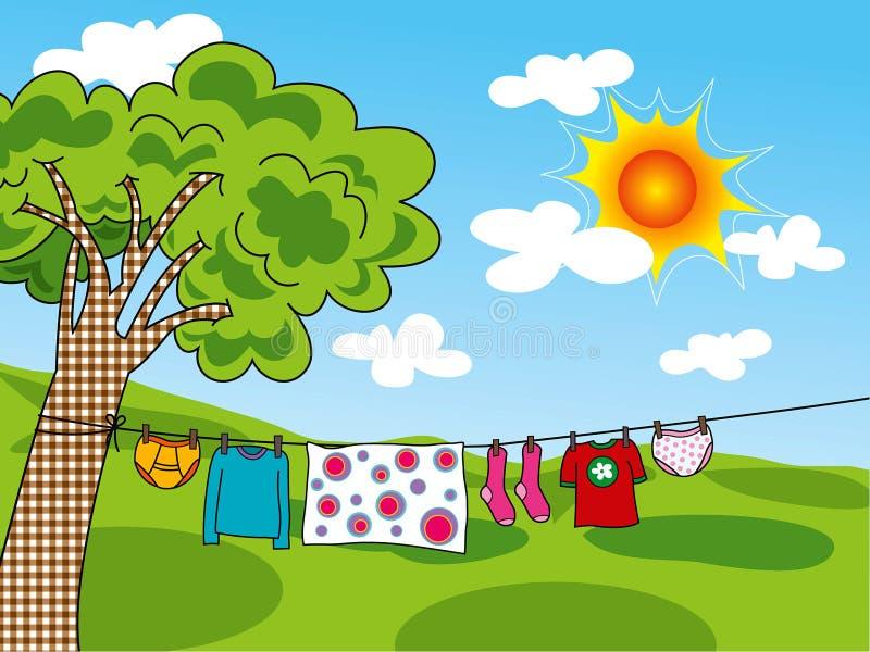 De kleren van de zomer in de zon stock illustratie