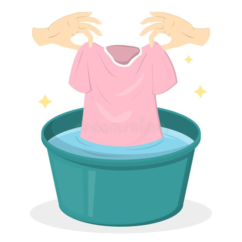 De kleren van de handwas in een groen bassin royalty-vrije illustratie