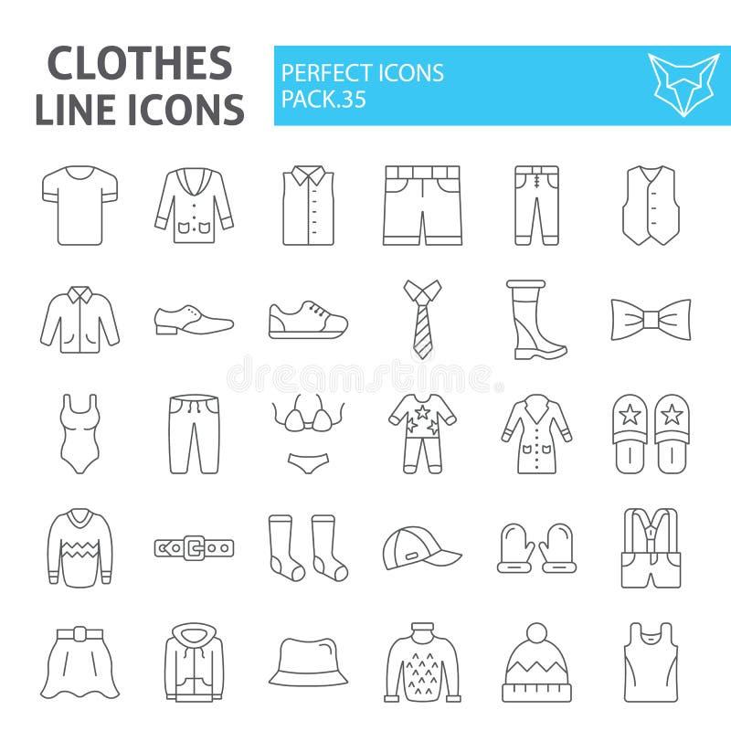 De kleren verdunnen de reeks van het lijnpictogram, de inzameling van kledingssymbolen, vectorschetsen, embleemillustraties, line vector illustratie