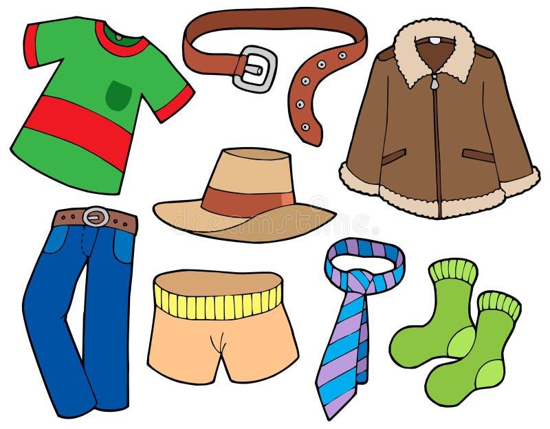 De klereninzameling van de mens stock illustratie