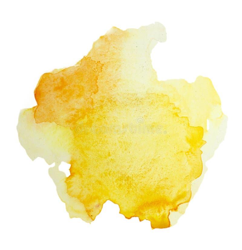 De kleur, de gele hand van de plonswaterverf schilderde geïsoleerd op witte achtergrond, artistieke decoratie royalty-vrije illustratie
