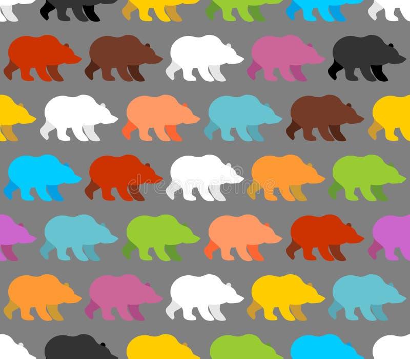 De kleur draagt naadloos patroon Achtergrond van mooie beren royalty-vrije illustratie