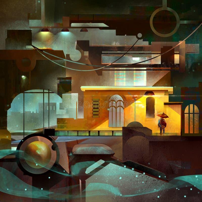 De kleur schilderde mechanische stad met verlichting stock illustratie