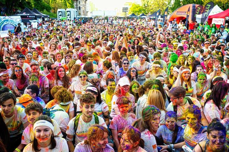 De Kleur stelt BucharestHappiest 5k op de planeet in werking! stock fotografie