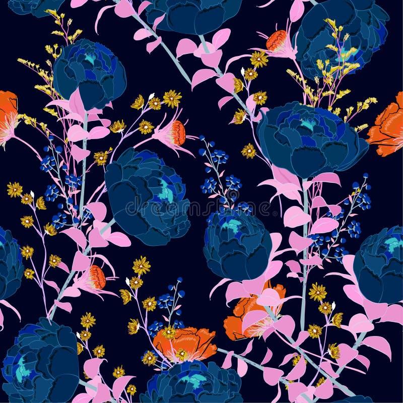 De kleur van het neoncontrast, gloed in donkere goedzak het bloeien pioenflo stock illustratie