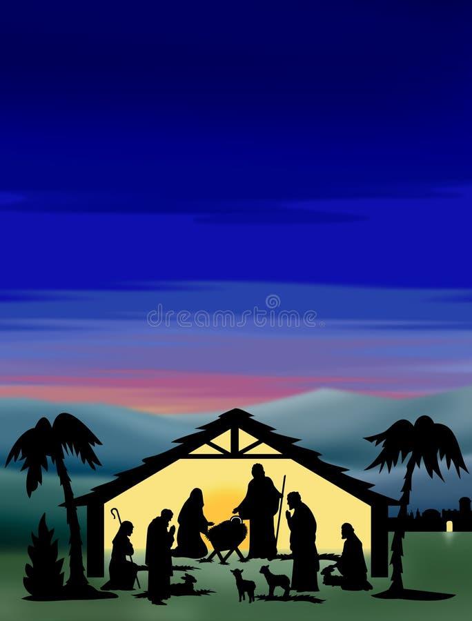 De Kleur van het Silhouet van de geboorte van Christus royalty-vrije illustratie
