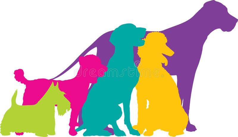 De Kleur van hondsilhouetten vector illustratie