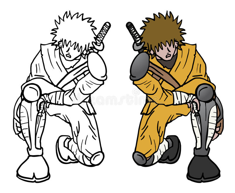 De kleur zit ninja royalty-vrije illustratie