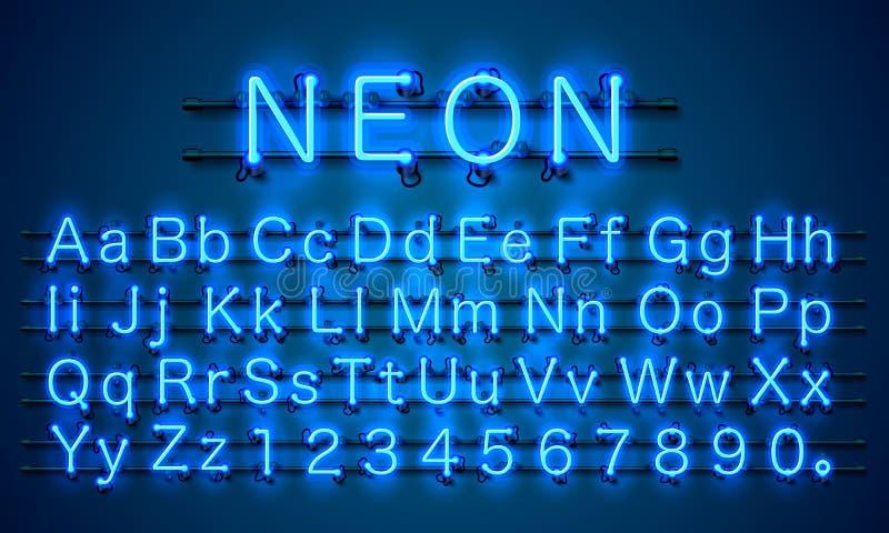 De kleuren blauwe doopvont van de neonstad Engels alfabetteken