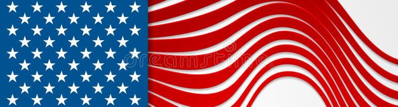 De kleuren en de sterren abstract helder golvend bannerontwerp van de V.S. vector illustratie