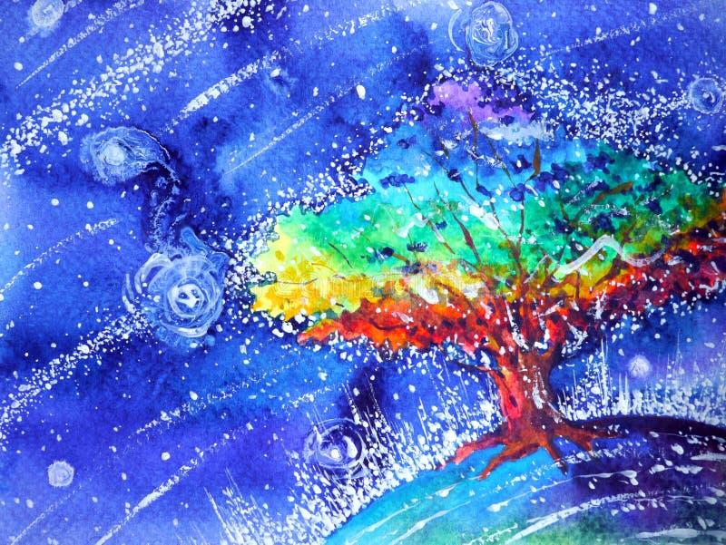 De kleuren kleurrijke waterverf die van de regenboogboom blauwe nachtillustratie schilderen stock illustratie