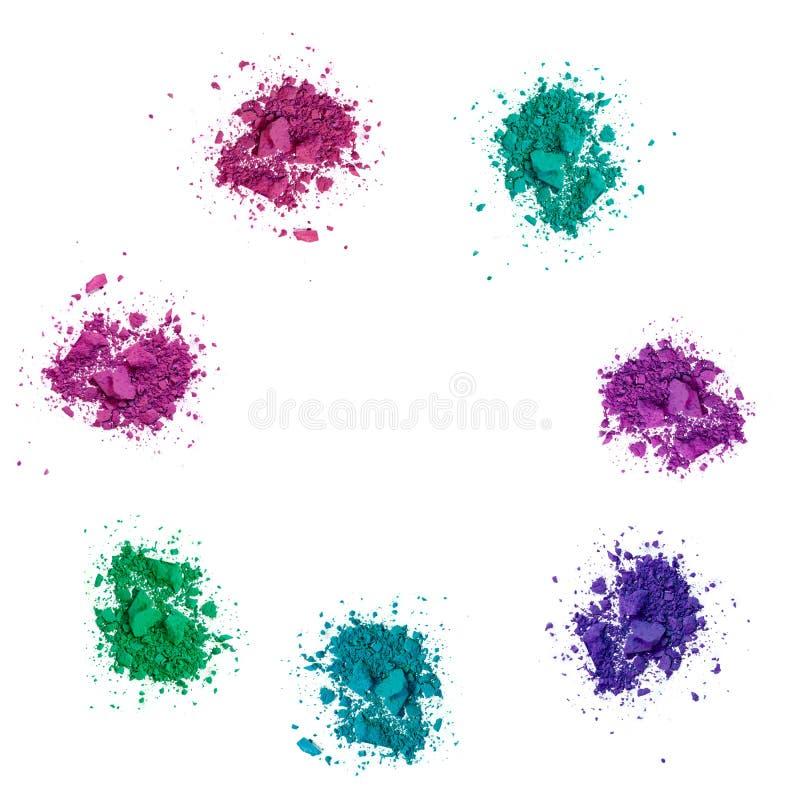 De kleuren maken omhoog oogschaduw op wit stock afbeeldingen