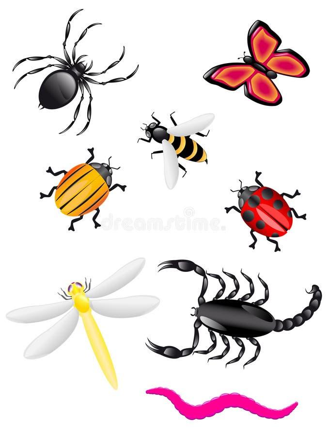 De kleuren van kevers en van insecten stock illustratie