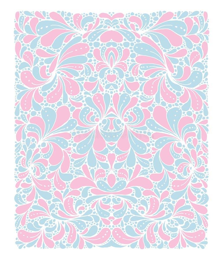 De in kleuren van Rose Quartz en van de Sereniteit van het jaar 2016 in het patroon Het ornament van de krabbelstijl met bloemene vector illustratie