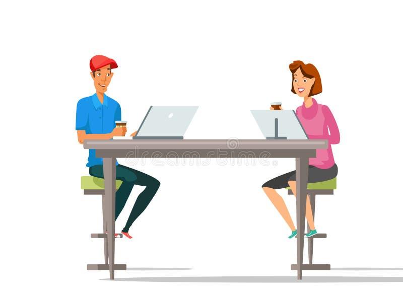 De kleuren vectorillustratie van het koffiepauzebeeldverhaal stock illustratie