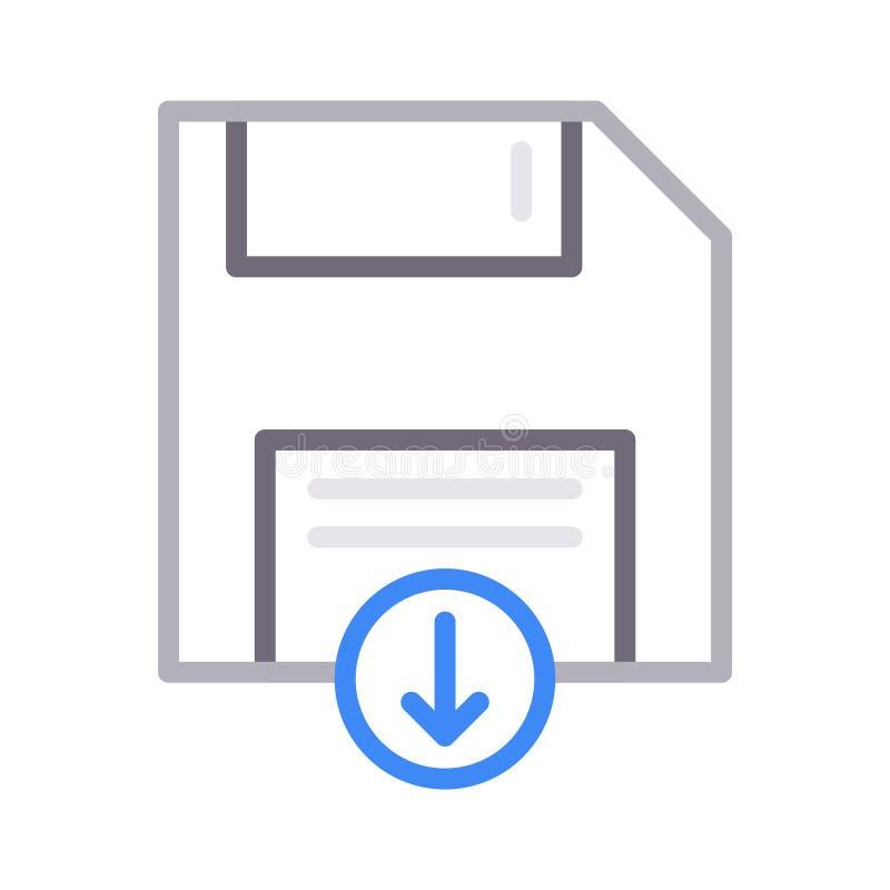 De kleuren vectorpictogram van de download slap dun lijn royalty-vrije illustratie