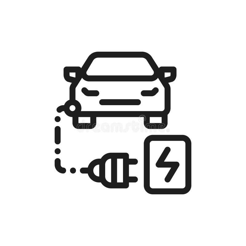 De kleuren vlak pictogram van de Ecoauto Auto het laden concept vector illustratie