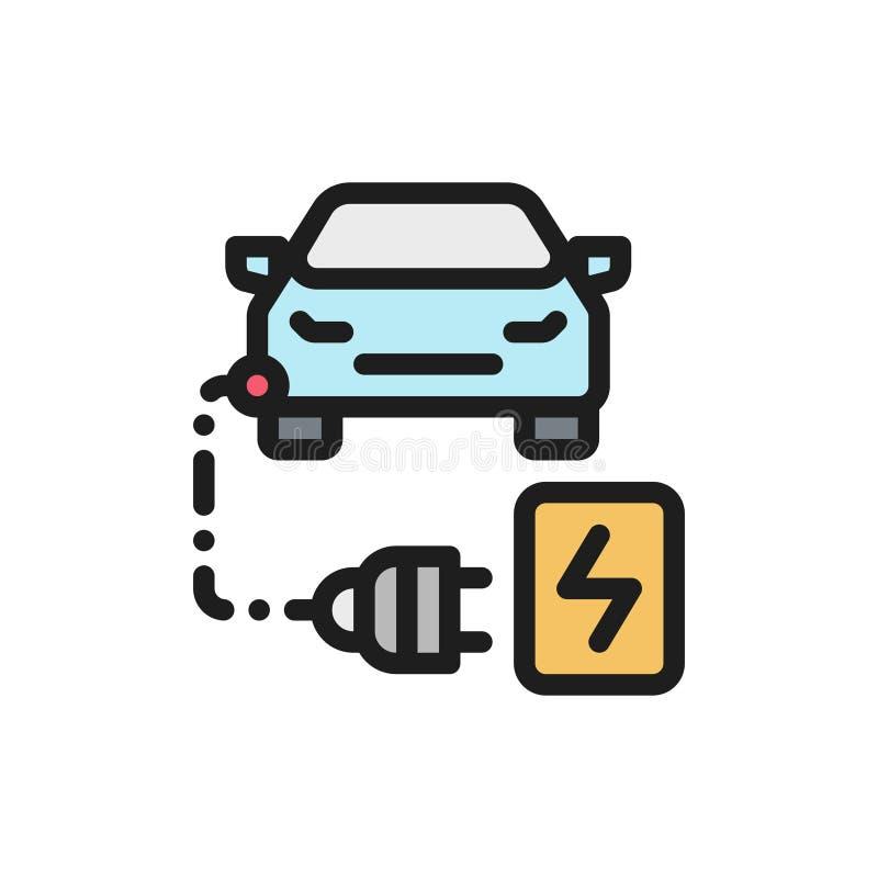 De kleuren vlak pictogram van de Ecoauto Auto het laden concept stock illustratie