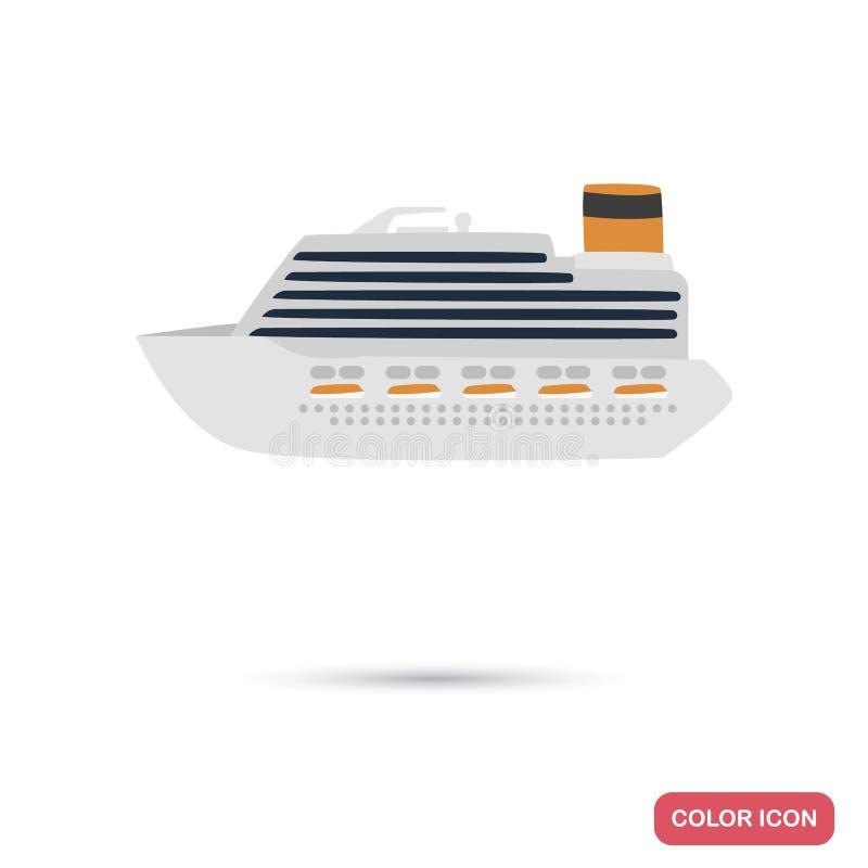 De kleuren vlak pictogram van het cruiseschip voor Web en mobiel ontwerp vector illustratie