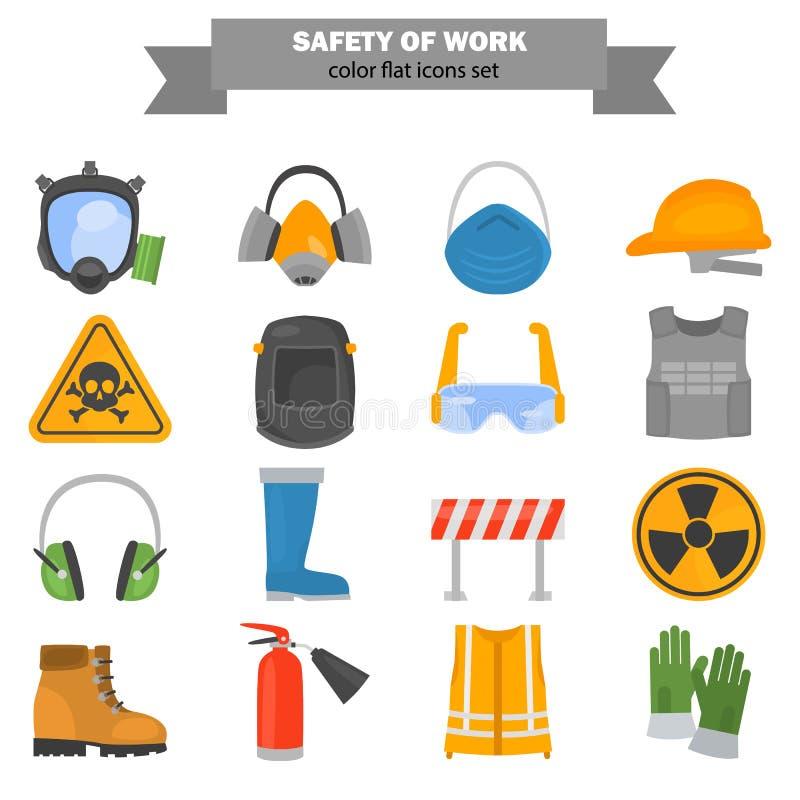 De kleuren vlakke die pictogrammen van het veiligheidswerk voor Web en mobiel ontwerp worden geplaatst vector illustratie