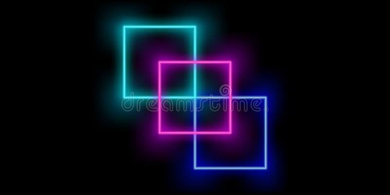 de kleurenachtergrond van neon abstracte vierkanten stock illustratie