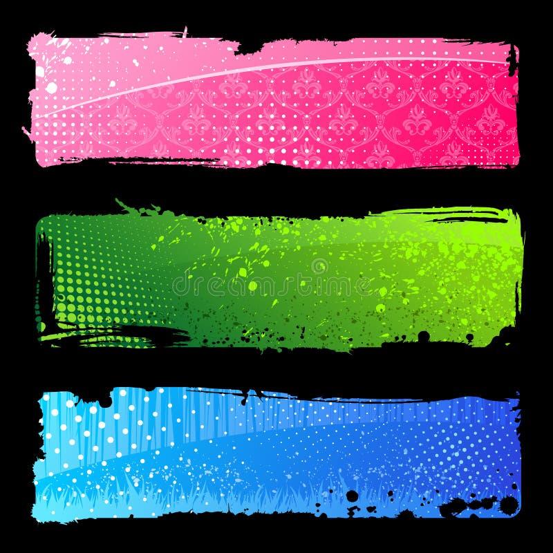De kleurenbanners van Grunge. De abstracte achtergronden van de borstel stock illustratie