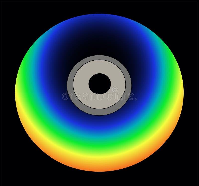 De kleurenCD van de regenboog op zwarte vector royalty-vrije illustratie