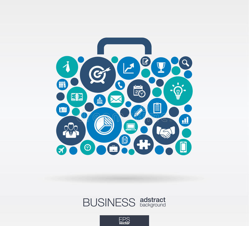 De kleurencirkels, vlakke pictogrammen in een geval vormen: zaken, marketing onderzoek, strategie, opdracht, analyticsconcepten stock illustratie