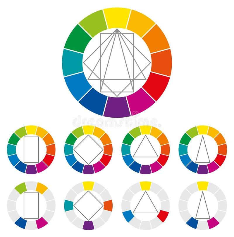 De kleurencombinaties van het kleurenwiel royalty-vrije illustratie