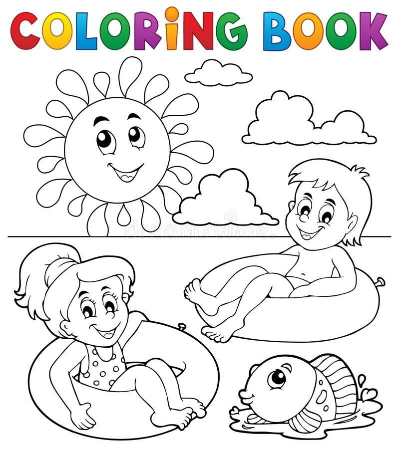 De kleurende boekkinderen zwemmen binnen ringen 1 vector illustratie