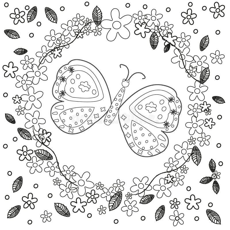 De kleurende boekpagina voor de kunstverwezenlijking van de volwassenenlijn, de bloemen en de vlinder, ontspannen en de meditatie vector illustratie