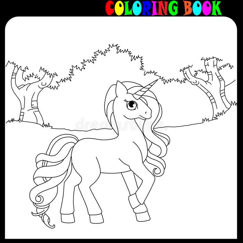 De kleurende de het boekeenhoorn, paard of poney als thema hebben in de tuin of het bos royalty-vrije illustratie