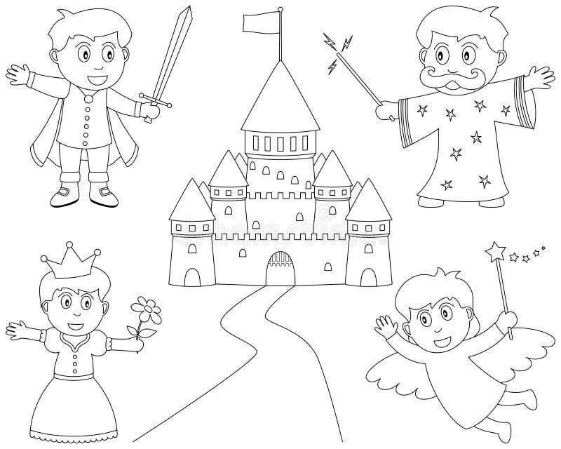 De kleurende Karakters van het Sprookje royalty-vrije illustratie