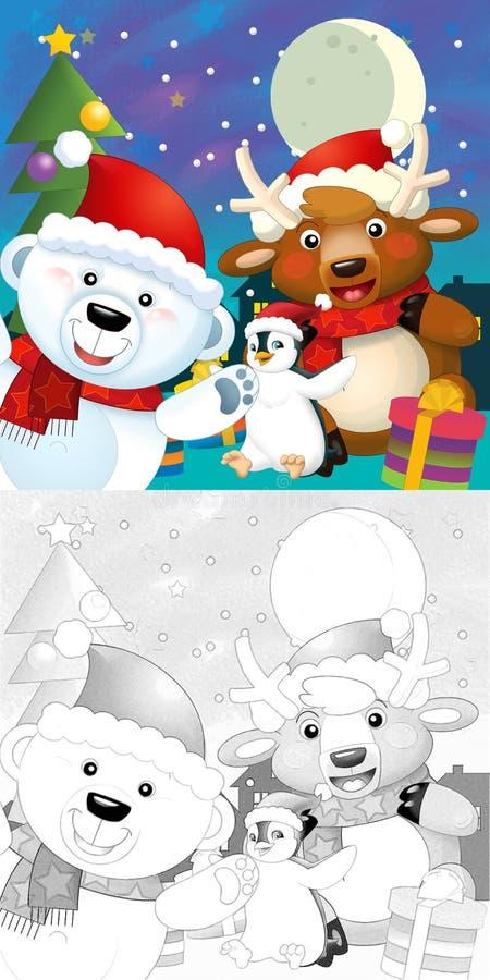 De Kleurende Kerstmispagina Met Kleurrijke Voorproef Stock Afbeeldingen